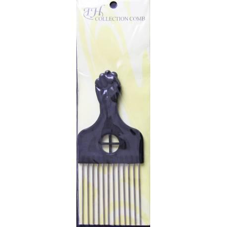 Peigne afro noir - dents métalliques