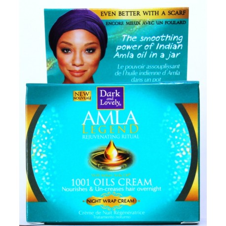 dark  end lovely amla legend 1001 oils cream nourishes & un-creases hair overnight