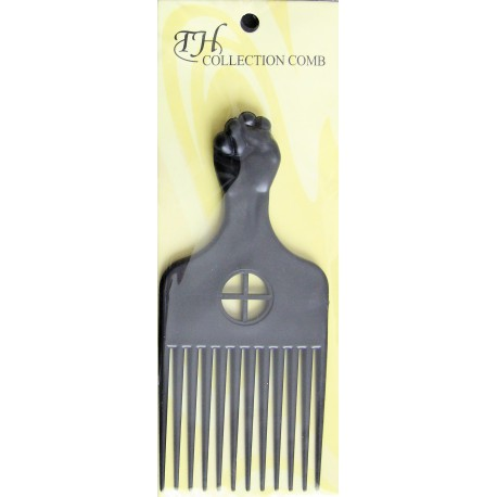 Black fist afro comb - plastic teeth