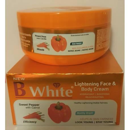 B white créme éclaircissante pour visage et corps  piment  doux avec carotte